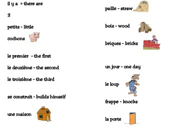 Les Trois Petits Cochons (The Three Little Pigs) French storytelling unit