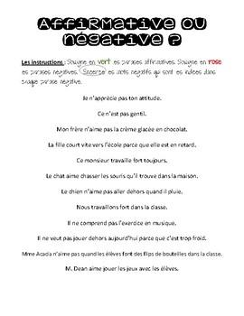 Les Types de Phrases: Affirmative et Négative