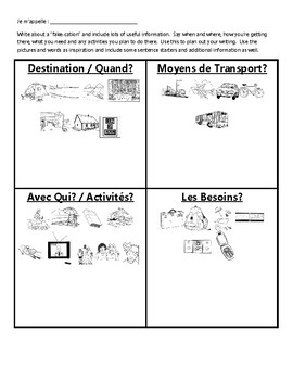 Les Vacances - French Vacation Writing Activity