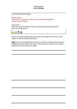 Les Vacances - Writing task
