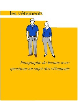 Les Vêtements FRENCH Reading on clothing