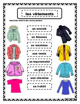 les v tements french clothing vocabulary matching by ms penelope. Black Bedroom Furniture Sets. Home Design Ideas