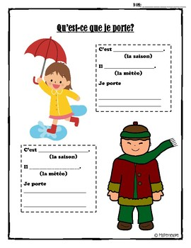 Les Vêtements (French Clothing): Sentence Worksheet