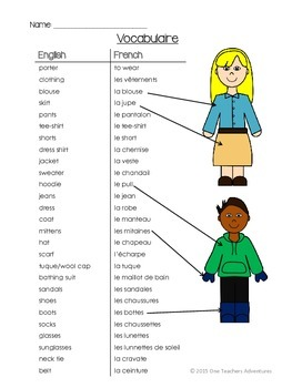 Les Vêtements - French Clothing-Themed Vocabulary Activities and Quiz