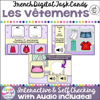 Les Vêtements ~ French Clothing Vocabulary Digital BOOM Task Cards with Audio