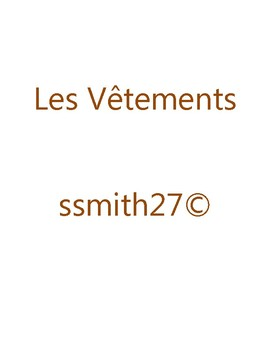 Les Vêtements - French Clothing - With Differentiated Writing Activity