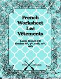 Les Vêtements Translation Worksheet