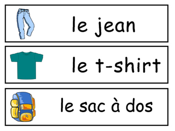 Les Vêtements Vocabulary Word Wall – Clothing Vocabulary in French