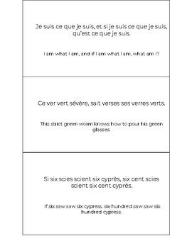 Les Virelangues (French Tongue Twisters)
