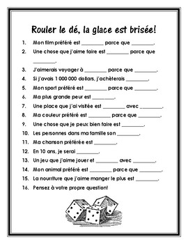 Les activités brise-glace - French Ice Breakers for the Start of the Year