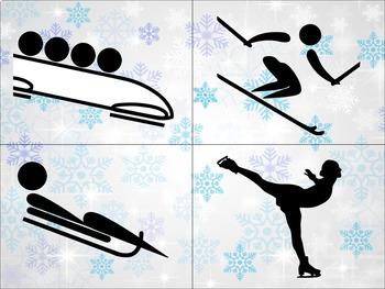 Les activités et sports d'hiver - Cartes pour mur de mots