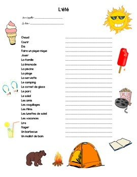 Les activities d'été/ Summer Activity booklet