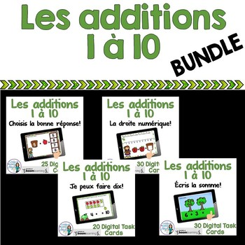 Les additions à 10:  French Addition Digital Task Cards BUNDLE -  BOOM CARDS