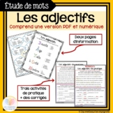 Les adjectifs: Étude de mots || Distance Learning FRENCH W