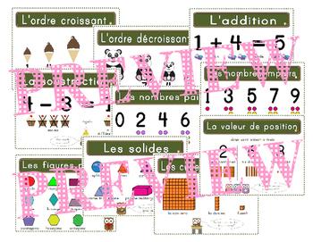 Les affiches de mathématiques - French Math posters (French Math anchor charts)