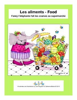 Les aliments : Fanny l'éléphante fait les courses au supermarché
