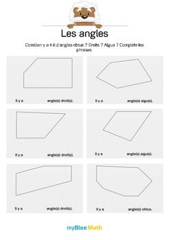 Les angles 2 -Combien y a-t-il d'angles droits ? Aigus ? Obtus ?