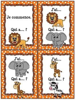 """Les animaux - Ensemble de jeux """"j'ai... qui a....?"""" - French Animals - Bundle"""