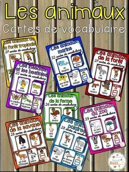 Les animaux - Ensemble des cartes de vocabulaire - French animals