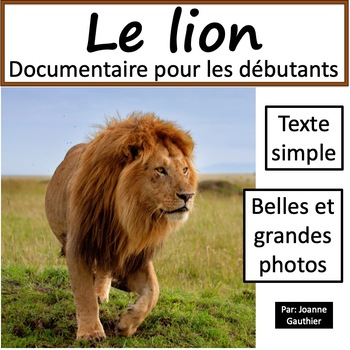 Les Animaux Le Lion By Ms Joanne Teachers Pay Teachers
