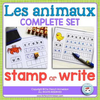 Les animaux - STAMP or WRITE animal names in French