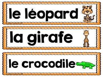 FRENCH African Animals Word Wall Cards / Les animaux africains- Mots-étiquettes