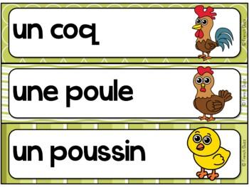 Animaux de la ferme - mur de mots et lexique (27 mots) - French animals