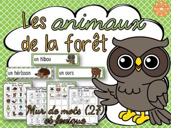 Animaux de la forêt - mur de mots et lexique (27 mots) - French animals