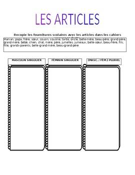 Les Articles Definis Et Indefinis Worksheets Teaching Resources Tpt