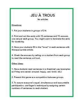 Les articles définis, indéfinis et partitifs, jeu à trous, game in French