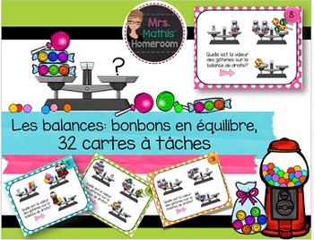 Les balances: bonbons en équilibre (32 Task Cards, Introdu