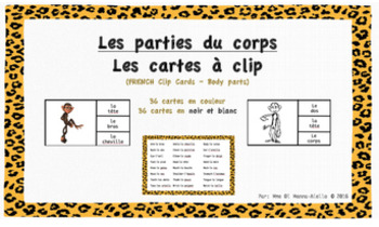 Les cartes à clip-Les parties du corps/Body parts Clip cards French