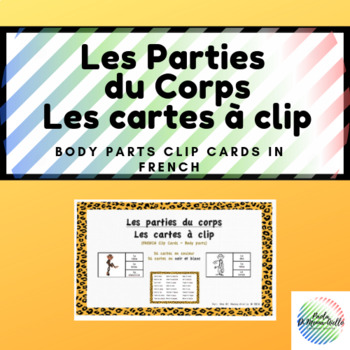 Les cartes à clip-Les parties du corps/Body parts Clip cards French