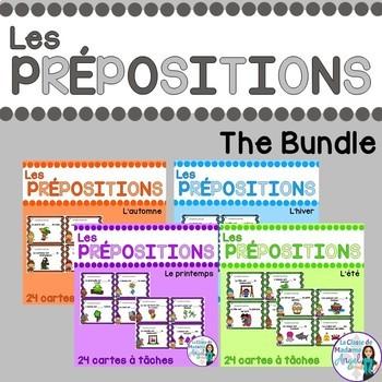 Les cartes à tâches:  French Preposition Task Cards BUNDLE