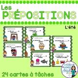 Les cartes à tâches:  French Preposition Task Cards - l'été