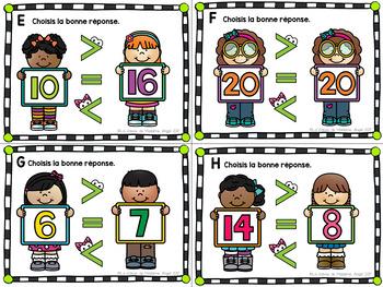 Les cartes à tâches:  La comparaison des nombres à 20