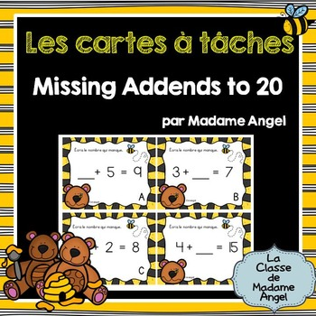 Les cartes à tâches:  French Addition Task Cards:  Missing Addends to 20