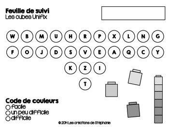 Les cartes à tâches : Les cubes Unifix
