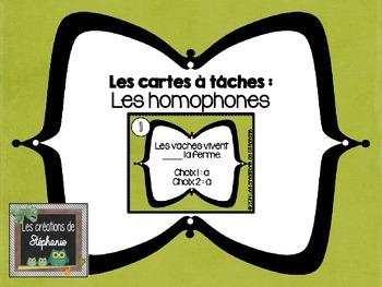 Les cartes à tâches : Les homophones