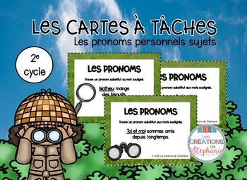Les cartes à tâches : Les pronoms