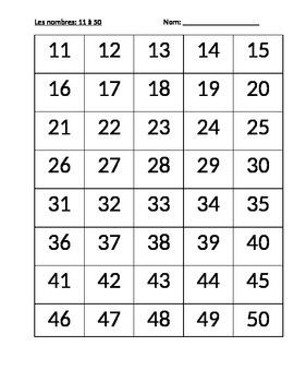 Les chiffres 11 à 50