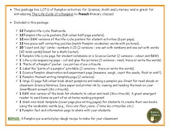 Le cycle de vie de la citrouille - French Pumpkins (life cycle, literacy, math)