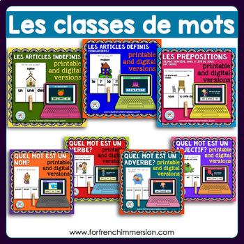 Classes de mots GROWING BUNDLE: French Parts of Speech Clip Cards