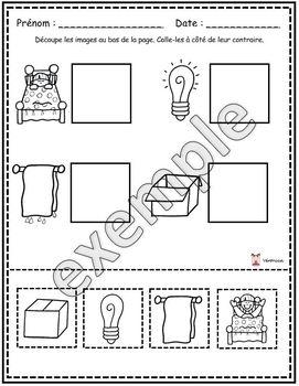 Les contraires: activités (papier-crayon)