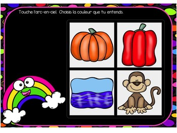 Les couleurs:  Colours Themed Digital Audio Task Cards in French - BOOM CARDS