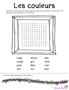 Les couleurs - French word search, matching, coloring and survey activities