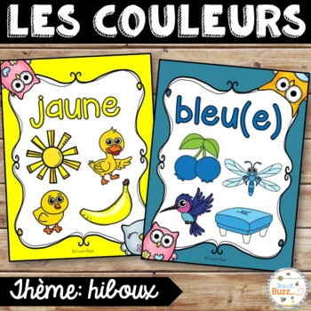 Les couleurs - affiches - hiboux - French Colors - Posters
