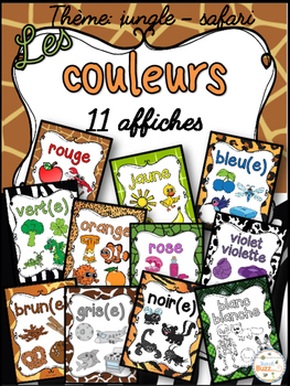 Les couleurs - affiches - jungle-safari - French Colors - Posters