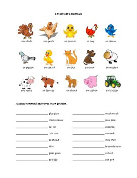 Les cris des animaux de la ferme, farm animals activity in French