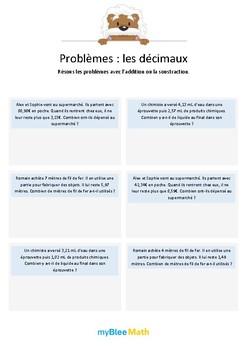 Les décimaux 2 - Additions et soustractions de nombres décimaux (au centième)